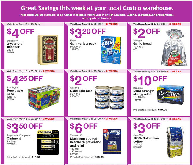 Costco w1 Costco Canada Weekly Instant Handouts Coupons For British Columbia, Alberta, Saskatchewan & Manitoba, Until May 25, 2014