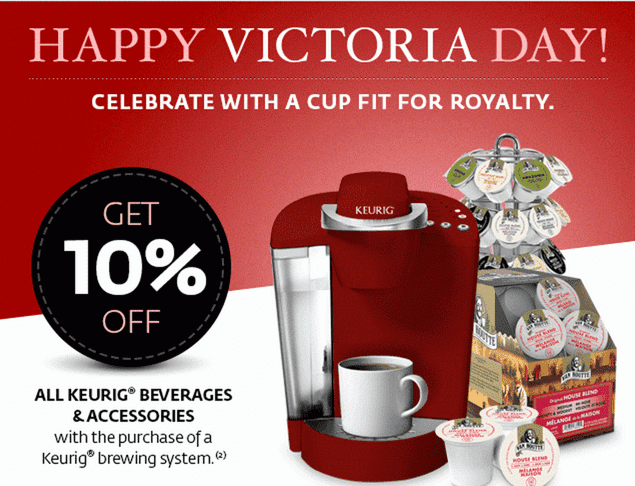 Keurig ® Deals & Coupons Check this page often to find the latest sales and sweepstakes on your favorite Keurig ® products.