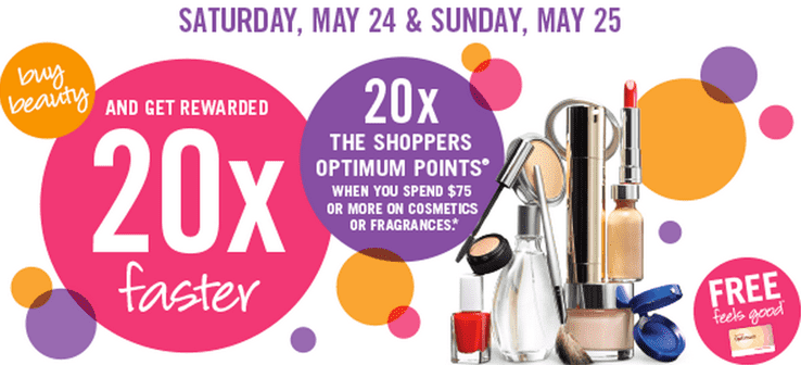 Shoppers Drug Mart Canada Deals Shoppers Drug Mart Canada Optimum Points Offers: Spend $75 or more on Cosmetics or Fragrances & Get 20x the Shoppers Points
