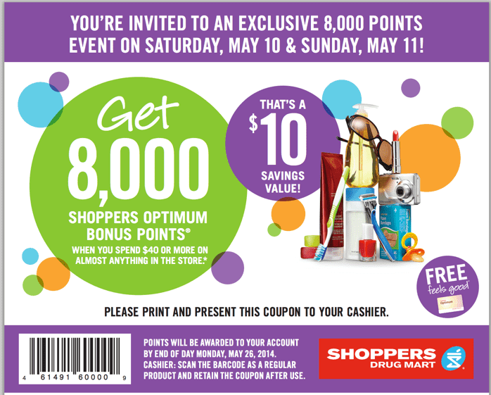 Shoppers Drug Mart Canada Printable Coupons Shoppers Drug Mart Canada Coupons: Get 8,000 Shoppers Optimum Bonus Points When You Spend $40 On Anything!