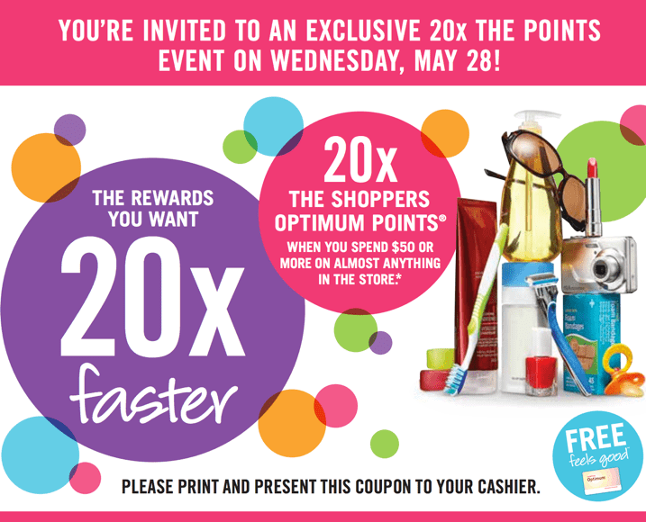 Shoppers Drug Mart Printable Coupon Shoppers Drug Mart Printable Coupons Promotion: Get 20x The Shoppers Optimum Points when You Spend $50 On Almost Anything!
