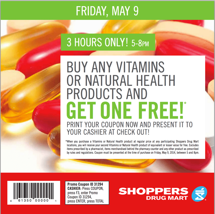 Shoppers Drug Mart offers Shoppers Drug Mart Canada Offers: 2 For 1 Vitamins, May 9 For 3 Hours Only!