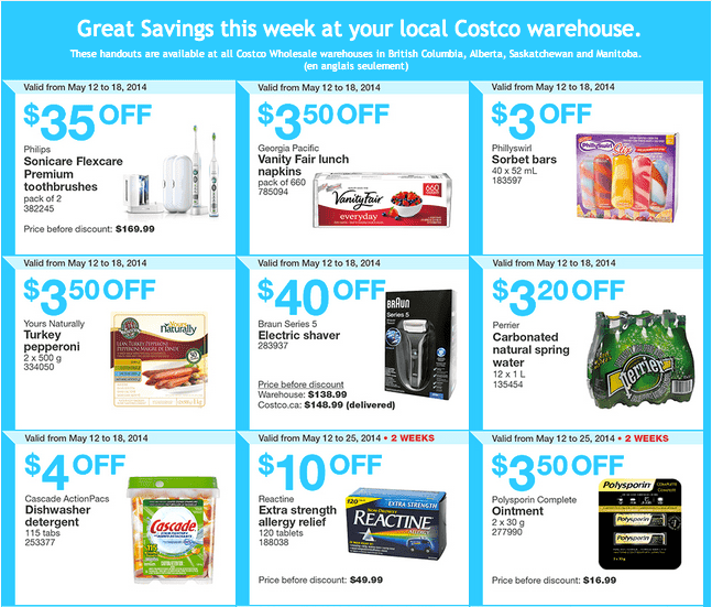 costco w1 Costco Canada Weekly Instant Handouts Coupons For British Columbia, Alberta, Saskatchewan & Manitoba, May 12 — 18, 2014