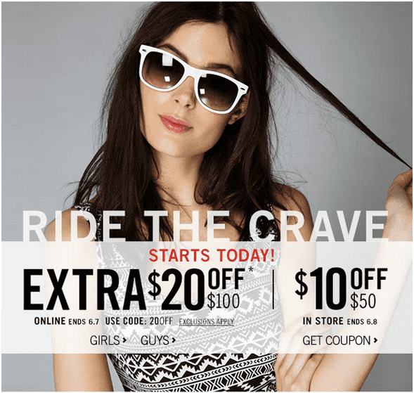 Aeropostale 1 Aeropostale Canada Promo Code Offers: Get An Extra $20 Off $100 Online & More