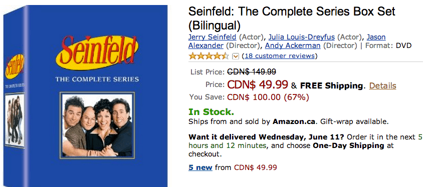 Amazon 1 Amazon Canada Offers: Get 67% on Seinfeld: The Complete Series Box Set (Bilingual)  & More