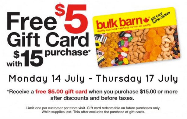 Bulk Burn1 Bulk Barn Canada Deals: Get A FREE $5 Gift Card When You Spend $15!