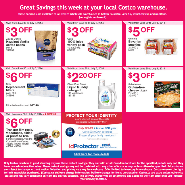 Costco West Costco Canada Weekly Instant Handouts Coupons For British Columbia, Alberta, Saskatchewan & Manitoba, June 30 To July 6, 2014