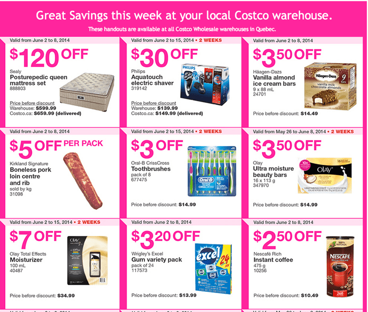 Costco Wholesale warehouses Coupons in Quebec Costco Canada Weekly Instant Handouts Coupons For Quebec: From June 2 To June 8, 2014