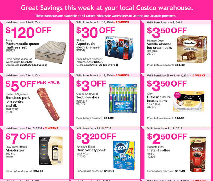 Costco Wholesale warehouses in Ontario and Atlantic provinces. Costco Canada Weekly Instant Handouts Coupons: Ontario and Atlantic Provinces, Monday, June 2 To Sunday June 8, 2014