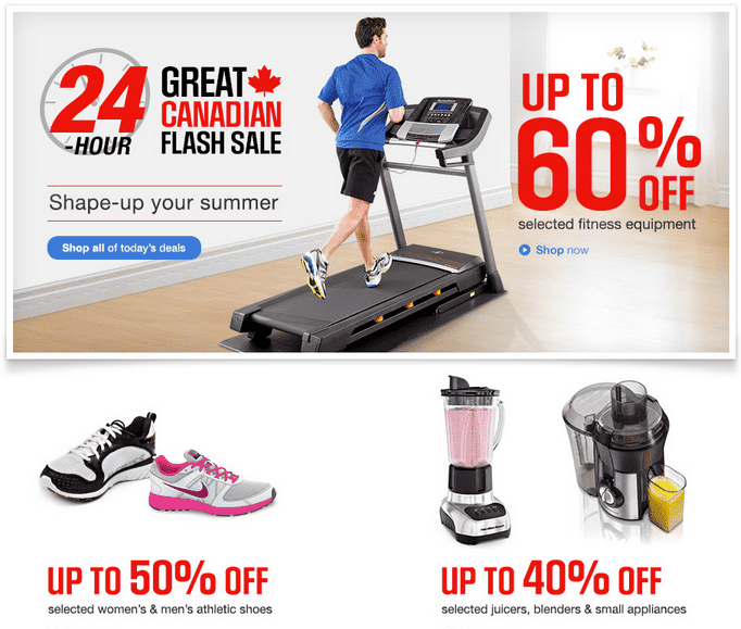Sears Canada 1 Day Sale Sears Canada 1 Day Online Flash Sale TODAY: Save Up To 60% On Selected Fitness Equipment & Small Appliances