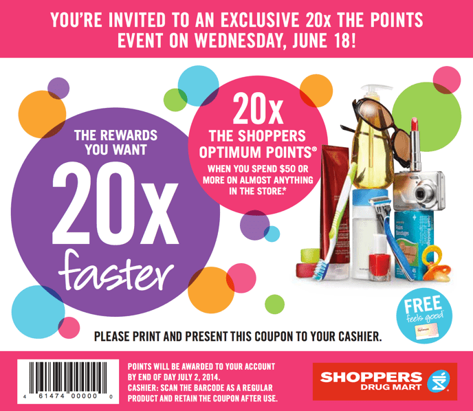 Shoppers Drug Mart Canada Offers Shoppers Drug Mart Canada Promotional Coupons: Get 20x the Optimum Points on Your Purchase of $50 On Almost Anything! This Wednesday!