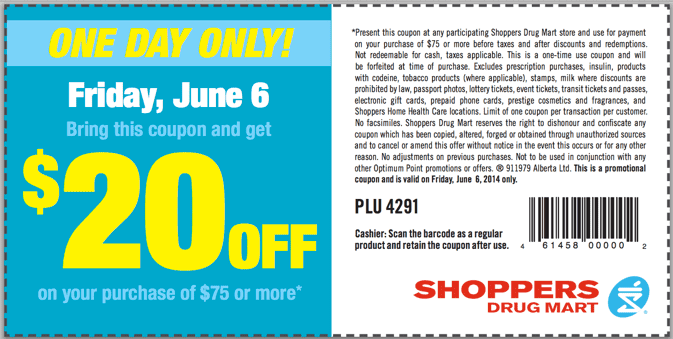Shoppers Drug Mart Canada Printable Coupon Shoppers Drug Mart Canada Coupons: Save $20 Off on Your Purchase of $75 or More!