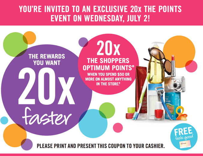 Shoppers Drug Mart Printable Coupon  Shoppers Drug Mart Printable Coupons: Get 20x the Shoppers Points when You Spend $50 On Anything!
