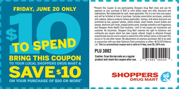 Shoppers Drug Mart Promotional coupon Shoppers Drug Mart Canada Promotional Coupons: Save $10 when You Spend $50 or More! This Friday, June 20