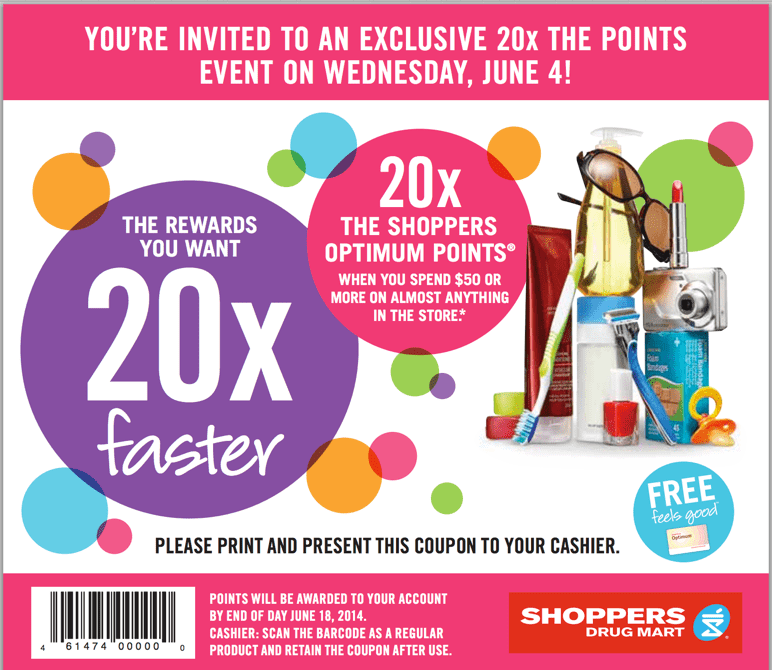 Shoppers Drug Mart promotional coupon Shoppers Drug Mart Canada Printable Coupons: Get 20X the Shoppers Optimum Points On Your Purchase Of $50 On Almost Anything!