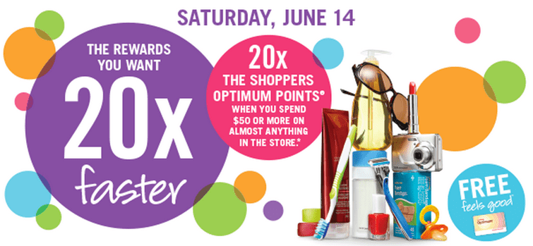 Shoppers Optimum Points Deals  Shoppers Drug Mart Canada Offers: 20x the Shoppers Optimum Points on Your Purchase of $50 On Almost Anything! This Saturday, June 14