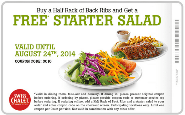 Swiss Chalet Canada Printable Coupon Swiss Chalet Canada Day Promotional Freebie Coupons: Buy A Half Rack Of Back Ribs and Get A FREE Starter Salad!
