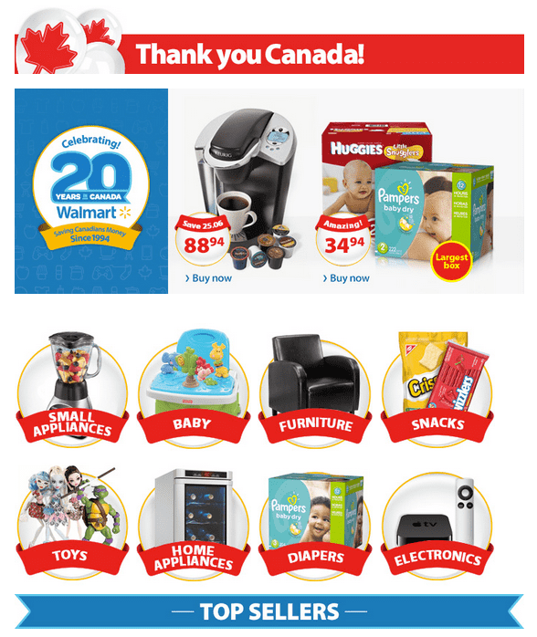 Walmart Walmart Canada Online Anniversary Sale: Thank You Canada! Walmart Celebrating 20 Years in Canada Promotions!