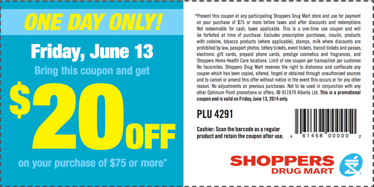 z1402513361 small Shoppers Drug Mart One Day printable Coupon: Save $20 When You Spend $75 Or More!