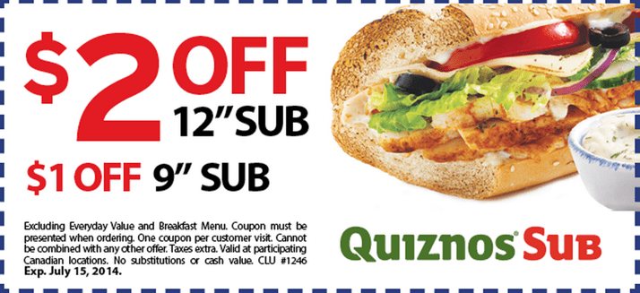 image about Quizno Printable Coupons identify Quiznos coupon codes 2 money off / Jct600 finance discounts