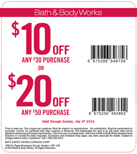Bath and body works discount coupons