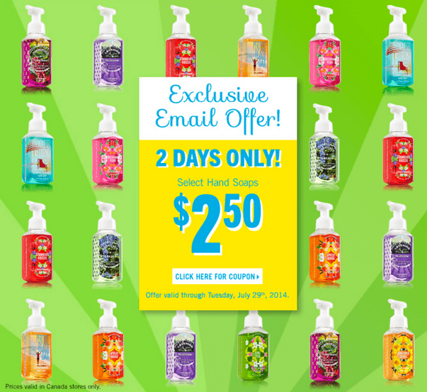 Bath Body Works Canada Coupons1  Bath & Body Works Canada Coupons: Get Select Hand Soaps For Just $2.50 and More!