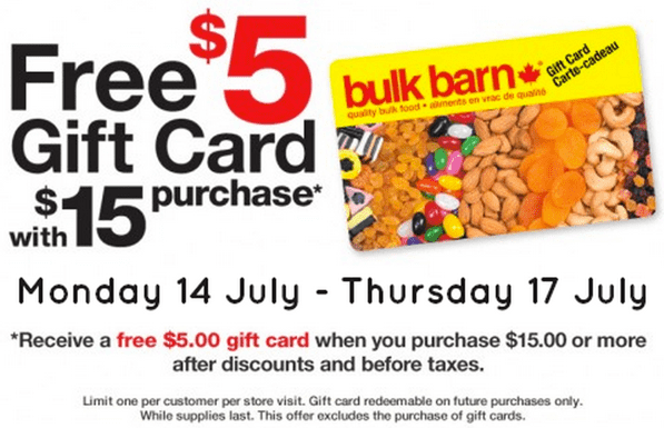 Bulk Barn Canada Promotions Bulk Barn Canada $5 Gift Card Promotion: Get a FREE $5 Gift Card with $15 Purchase!