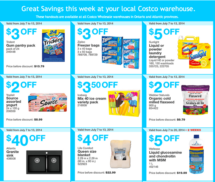 Costco Canada Coupons Ontario and Atlantic Costco Canada Weekly Instant Handouts Coupons: Ontario, Quebec & Atlantic, Monday, July 7 To Sunday, July 13, 2014