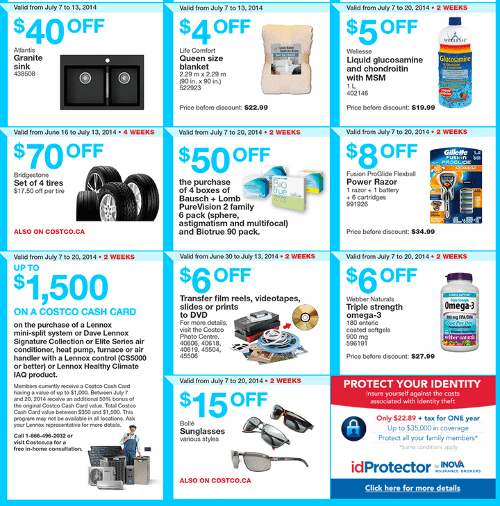 Costco Canada Flyers in British Columbia Alberta Saskatchewan and Manitoba. Costco Canada Weekly Instant Handouts Coupons For British Columbia, Alberta, Saskatchewan & Manitoba Provinces From Monday July 7 Until Sunday, July 13, 2014