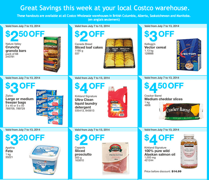 Costco Coupons for British Columbia Alberta Saskatchewan and Manitoba Costco Canada Weekly Instant Handouts Coupons For British Columbia, Alberta, Saskatchewan & Manitoba Provinces From Monday July 7 Until Sunday, July 13, 2014