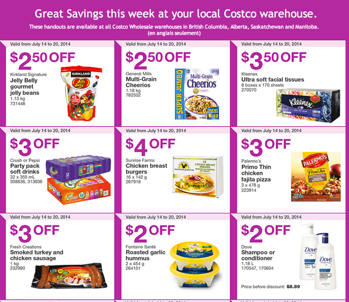 Costco Flyers For Western British Columbia Alberta Saskatchewan Manitoba Costco Canada Weekly Instant Savings Handouts Flyers For British Columbia, Alberta, Saskatchewan & Manitoba From Monday July 14 Until Sunday, July 20, 2014