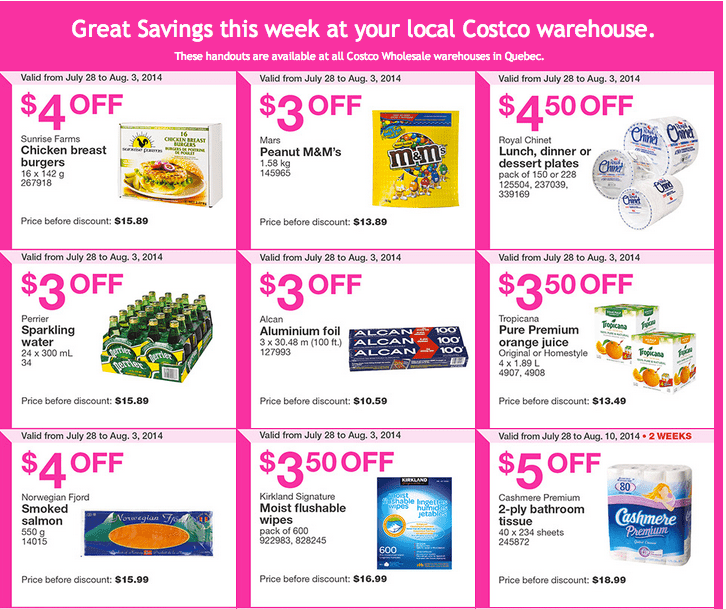 Costco q1 Costco Canada Weekly Instant Handouts Coupons For Quebec: From July 28 To August 3, 2014