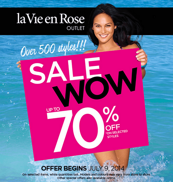 La Vie en Rose Canada Sale  La Vie en Rose Canada WOW Event Online Sale: Save Up to 70% On Selected Already Reduced Priced Merchandise!