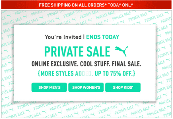 PUMA Canada Online Exclusive Private Sale PUMA Canada Online Exclusive Private Sale: Save up to 75% + FREE Shipping SITEWIDE! Today Only!