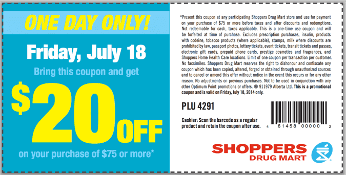 SDM Coupon  Shoppers Drug Mart Canada Printable Coupons: Save $20 On your Purchase Of $75!