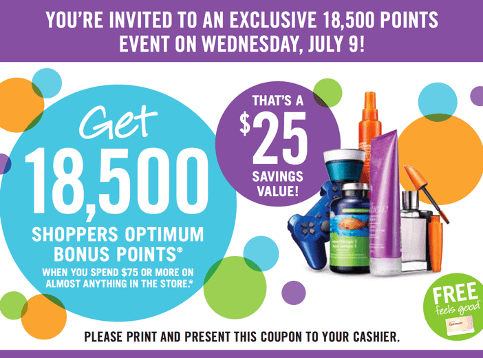 Shoppers Drug Mar Coupon Deal Shoppers Drug Mart Canada Printable Coupons: Get 18,500 Bonus Optimum Points On Your Purchase Of $75