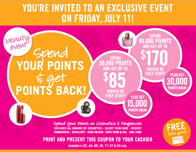 Shoppers Drug Mart Beauty Offer Shoppers Drug Mart Canada Beauty Event Coupon: Get Up To 30,000 Bonus Optimum Points Back! Today