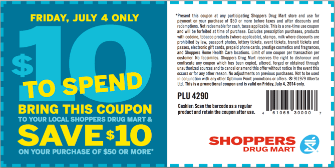 Shoppers Drug Mart Canada Printable Coupon Shoppers Drug Mart Canada Coupons: Save $10 When You Spend $50 or More!