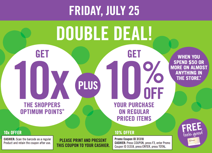 Shoppers Drug Mart Canada Promotional Coupon Codes Shoppers Drug Mart Canada Double Deal Promotional Coupon: Get 10x the Optimum Points + 10% OFF Your Purchase! This Friday, July 25