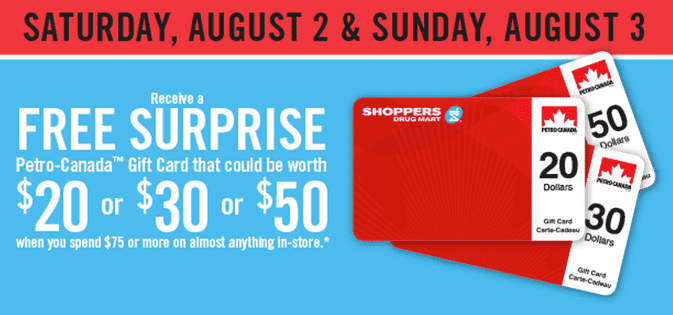 Shoppers Drug Mart Canada Promotions Shoppers Drug Mart Canada Promotions: Get A FREE Surprise Petro Canada Gift Card Worth $20, $30 or $50 When You Spend $75 on Almost Anything!