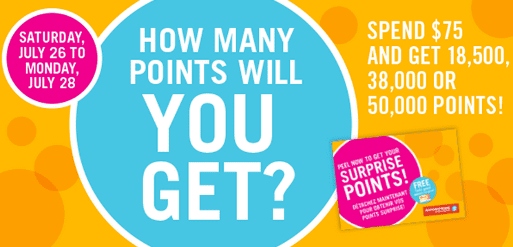 Shoppers Drug Mart Points Event Shoppers Drug Mart Canada Surprise Optimum Points Event: Spend $75 and Get 18,500, 38,000 or 50,000 Optimum Bonus Points, this Weekend!