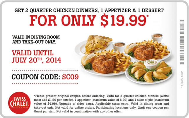 Swiss Chalet Canada Offers Coupons  Swiss Chalet Canada Coupons: Get Two Quarter Chicken Dinners, 1 Appetizer & 1 Dessert For Just $19.99!
