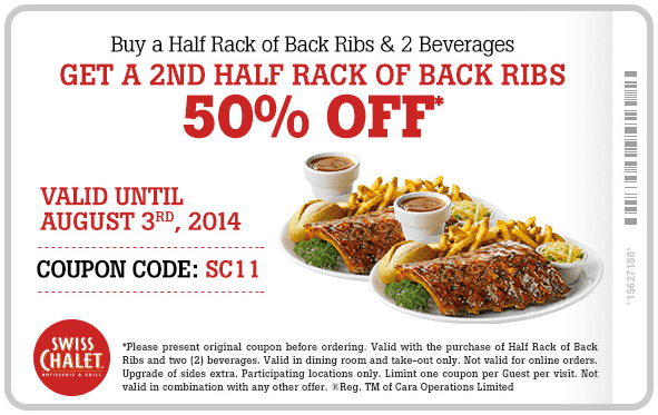 Swiss Chalet Swiss Chalet Canada Coupon Code: Buy a Half Rack of Back Ribs & 2 Beverages and Get the 2nd 50% Off!