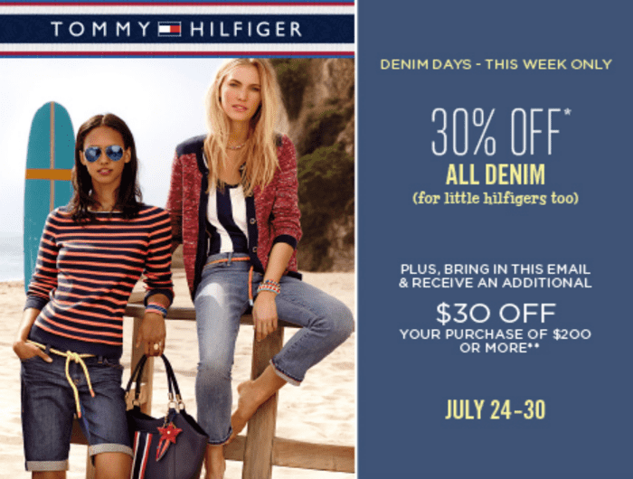Tommy Hilfiger Canada End Of Season Sale Tommy Hilfige Canada Denim Days Sale: Save 30% On ALL Denim + Coupon to Receive An Additional $30 OFF Your Purchase of $200!