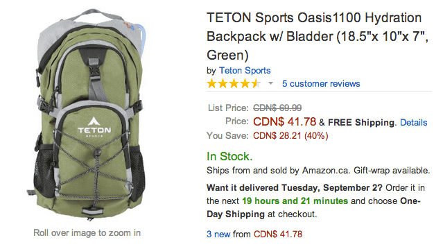 Amazon Amazon Canada Online Offers: Save 40% On TETON Sports Oasis1100 Hydration Backpack w/ Bladder Green & More