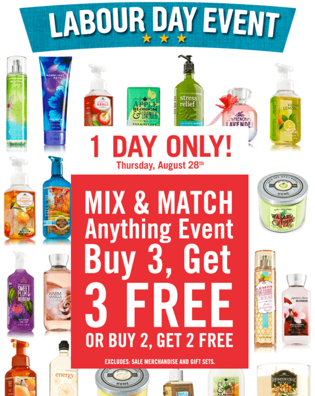 Bath Body Works Canada Sale Bath & Body Works Canada Back To School Sale: Entire Store Buy 2 Get 2 FREE! Mix & Match Anything Event! TODAY Only!