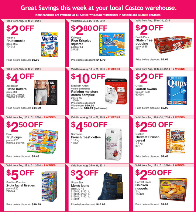Costco ON 11 Costco Canada Weekly Instant Handouts Coupons: Ontario & Atlantic, Monday, August 25 To Sunday, August 31, 2014