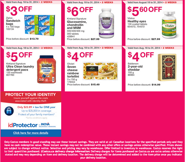 Costco ON 21 Costco Canada Weekly Instant Handouts Coupons: Ontario & Atlantic, Monday, August 25 To Sunday, August 31, 2014
