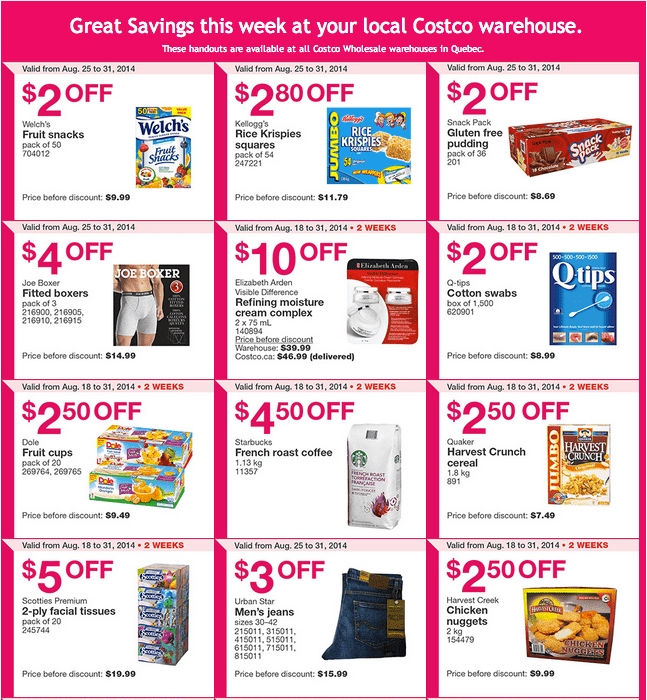 Costco Q12 Costco Canada Weekly Instant Handouts Coupons For Quebec: From August 25 To August 31, 2014