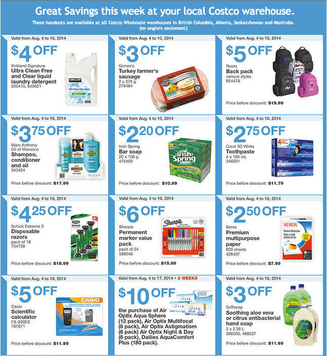 Costco West 1 Costco Canada Weekly Instant Handouts Coupons For British Columbia, Alberta, Saskatchewan & Manitoba, August 4 To August 10, 2014